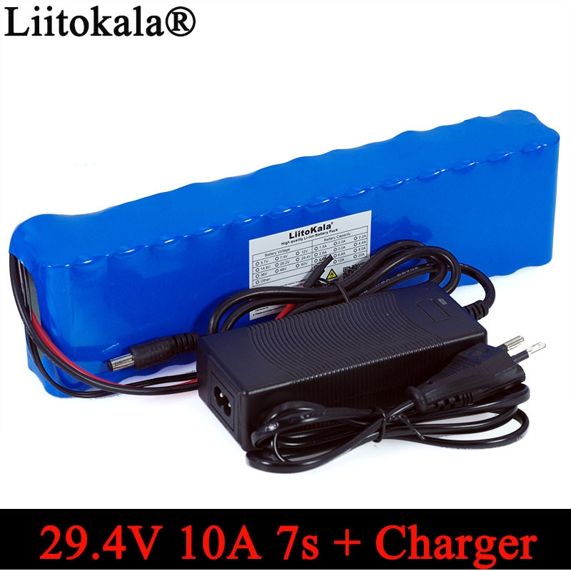 Liitokala 24V 10ah 7S4P батареи 250W 29,4 v 10000mAh аккумулятор 15A BMS для мотора стул набор электрическая мощность + 29,4 V 2A зарядное устройство