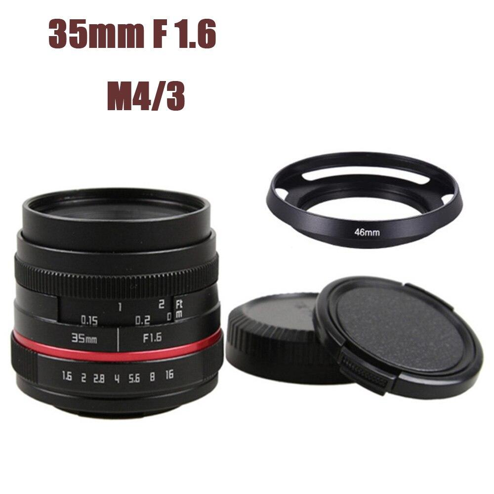 Objectif grand Angle manuel 35mm F1.6 pour Olympus Panasonic Micro 4/3 M4/3 EP5 GH5 GH4 GX7 GX8 GX85 OM-D E-M5 E-M1 E-M10 E-PL1 E-PL7