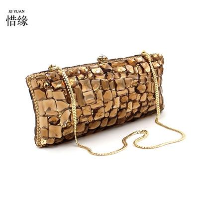 Marca XIYUAN, bolso de hombro de diamante de cristal dorado, caja de noche, bolso de mano, monederos para mujer, fiesta, nupcial, bolsos de mano de Metal para boda