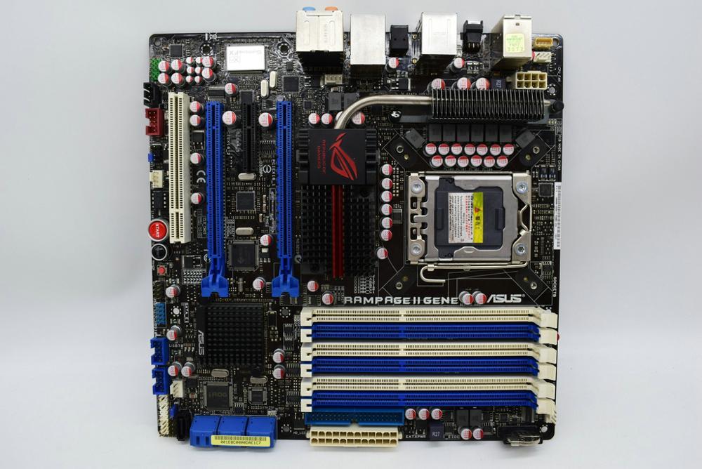 Для ASUS Rampage II Gene R2G 1366 pin Player Kingdom X58 Материнская плата три канала оригинальная используемая материнская плата