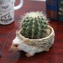 Cute Hedgehog Resin Flower Pot For Succulent Cactus Plants Mini Animal Planter bonsai Home Garden Decoration Crafts Ornaments