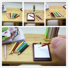 Nuevos 8 unids/set 1/12 casa de muñecas Mini lápiz colorido modelo de moda accesorios en miniatura modelo de simulación juguetes para muñeca niños regalo