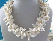 "~ ~ shipping ~ ~ Shipping3Strands blanco Keishi Keshi pétalo collar de perlas 17 """