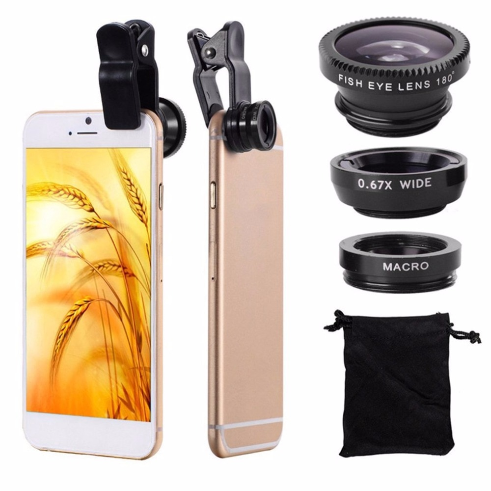 Объектив для телефона 360 градусов Поворот Акулий хвост в форме клипса комплект объективов для фото камеры 180 градусов Рыбий объектив 0.65X Широкоугольный 10X макрообъектив