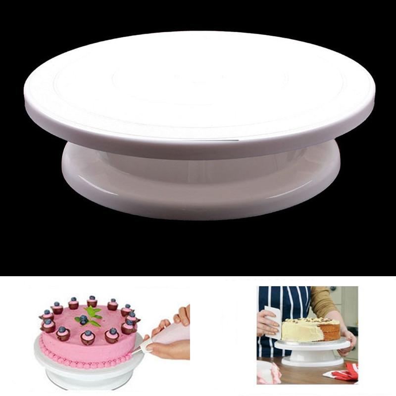 Gran oferta 2018 torta giratoria Sugarcraft plato de torta giratorio decoración soporte plataforma giratoria herramientas para hornear QB870264