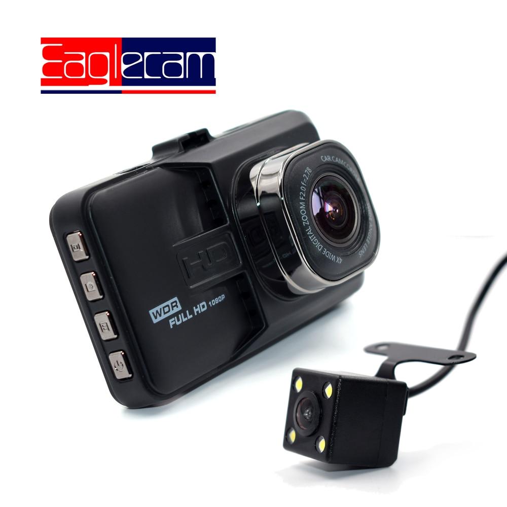 Full HD 1080P Mini coche DVR 3 pulgadas cámara frontal + trasera videocámara doble lente cámara de salpicadero dos cámaras de vídeo registrador visión nocturna