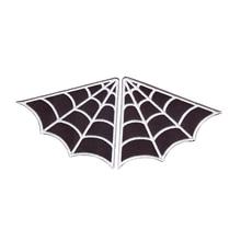 fashionable WEB spiderweb set of 2 collar punk goth B/W iron-on patch applique