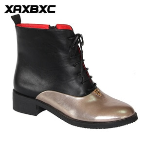XAXBXC 2018 Retro British Winter PU Leather Stitching Lace-Up Short Ankle Boots Warm Women Boots Handmade Casual Lady Shoes
