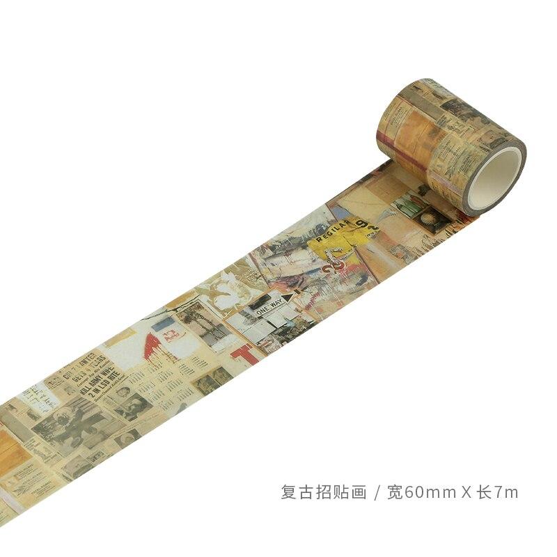 60mm Vintage bildliche poster kunst zeichnung Dekoration Planer washi band DIY Tagebuch album Scrapbooking masking tape escolar