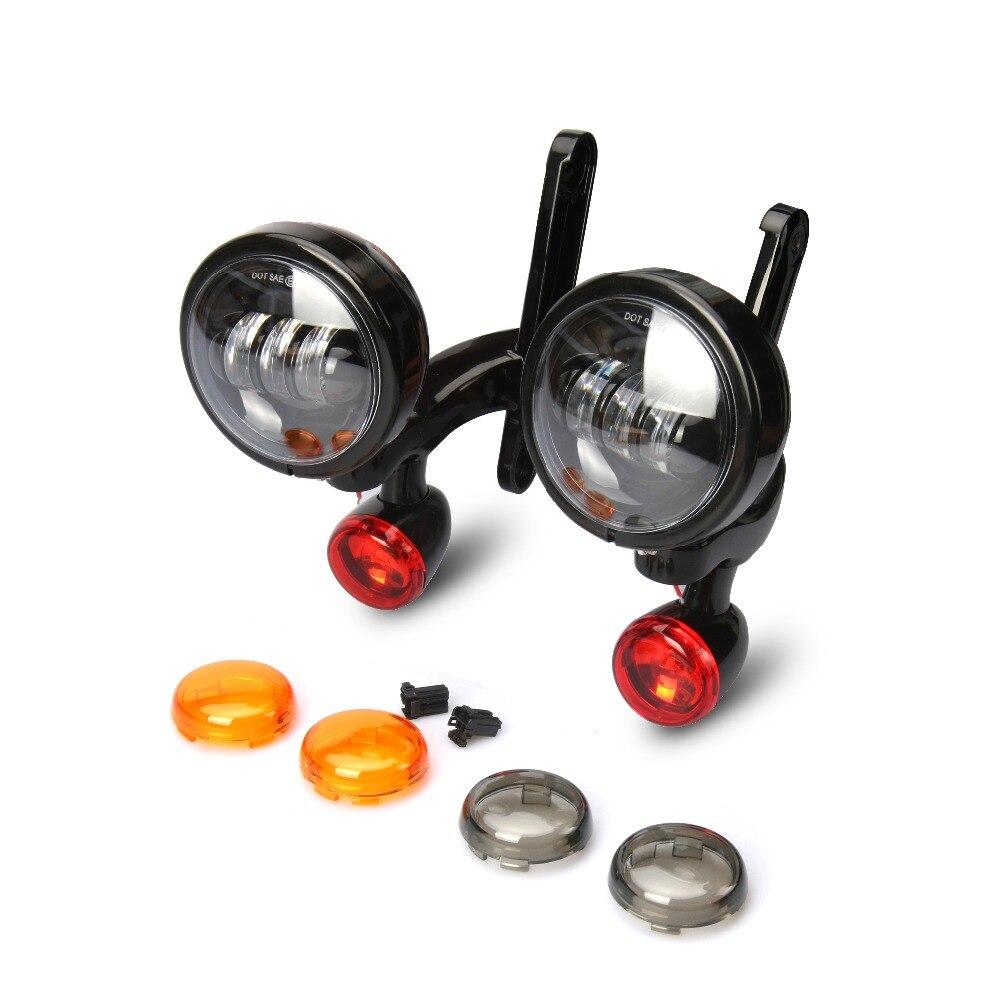 Soportes de iluminación auxiliares negros para motocicleta, luz antiniebla con intermitentes para Harley Street Glide FLHX, piezas de Marco 06-13