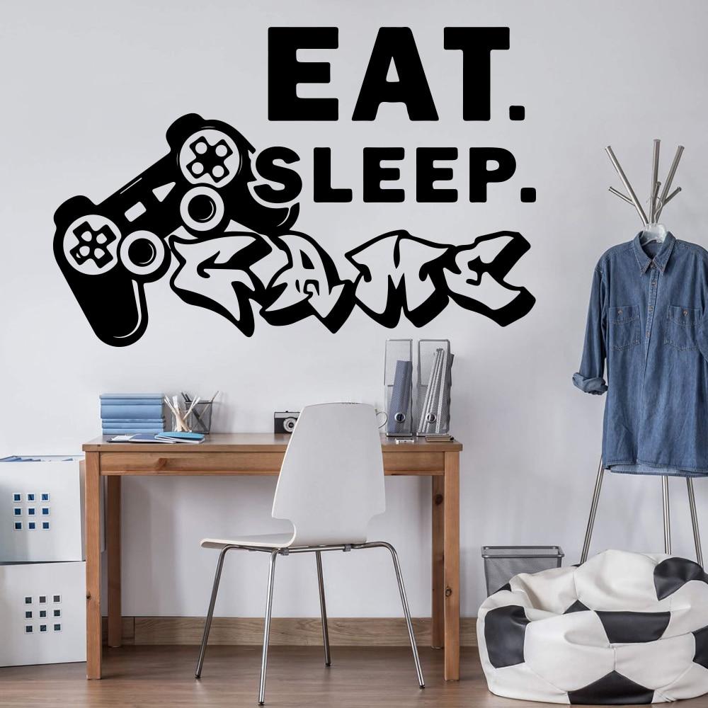 Eat sleep adesivo de parede, decalque de parede para jogo de dormir em vinil e casa decoração