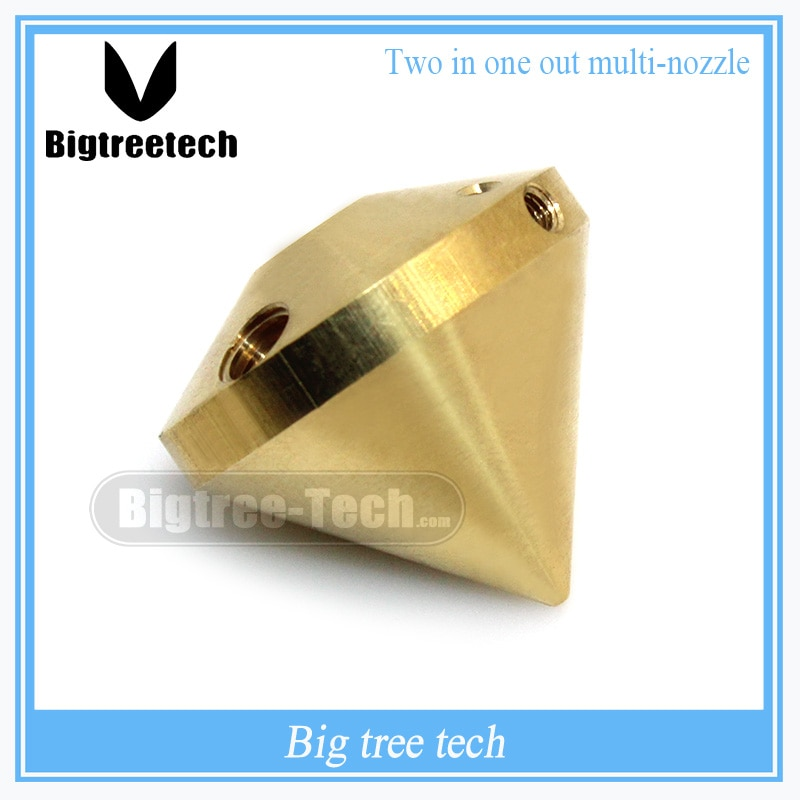 Boquilla de latón 2 en 1 salida Hotend boquilla multicolor boquilla de 2 colores 0,4mm para impresora 3D de disipador térmico V6 de diamante hotend de 1,75mm