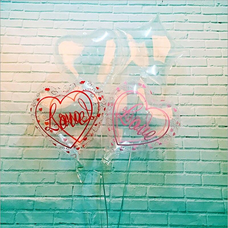 8 unids/lote 18 pulgadas estrella corazón transparente burbuja globo decoraciones para fiesta de cumpleaños globo de helio boda decoración de boda bola