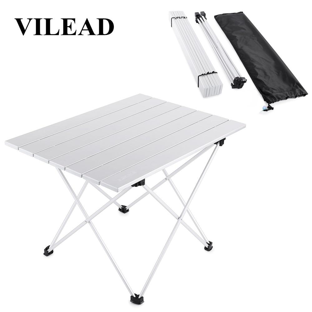 Mesa de Camping portátil VILEAD de 4 colores, de aluminio, ultraligera, plegable, impermeable, para exteriores, senderismo, barbacoa, mesa de Picnic, mesa de Picnic, estable
