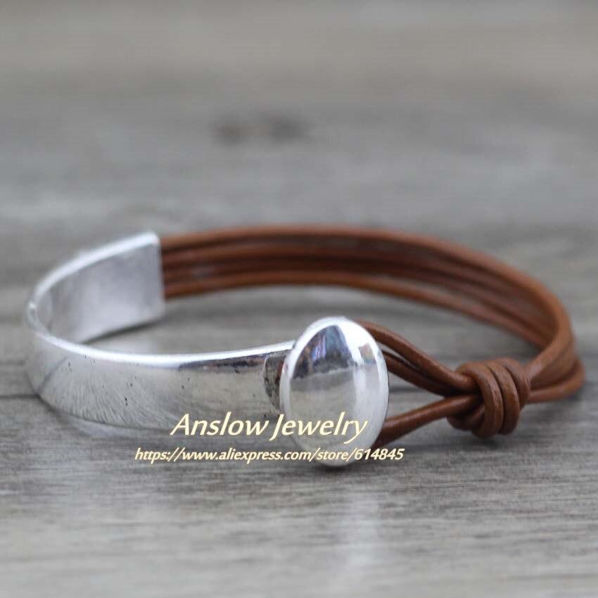 Anslow 2017 Trendy Classoc Men Jewelry Handmade Vintage Mens Leather Bracelet Bangle Mother's Day Birthday Gift LOW0466LB