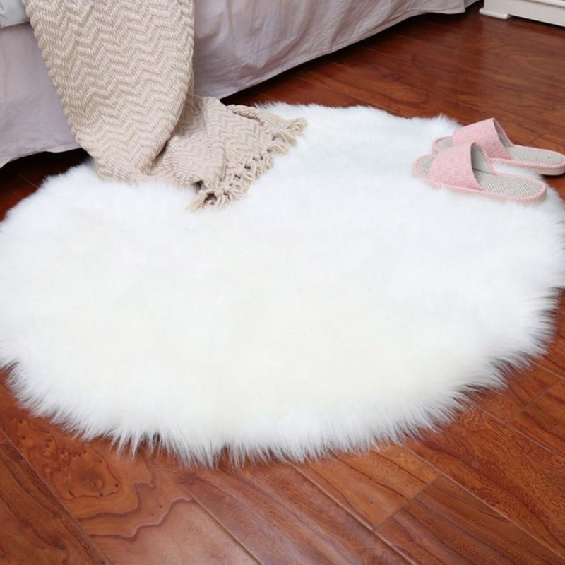 Artificial Sheepskin Rug Skins Carpet Soft Carpet Seat Pad Round Area Rugs Floor Mat 2 Colors Home Decorator Carpets