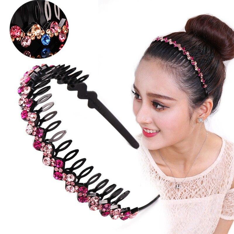 Ободок для волос AWAYTR, повязка на голову с кристаллами и стразами для женщин и девочек, модные аксессуары для волос с зубцами, нескользящий головной убор