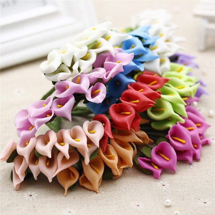 Mini Calla Lily foam flower Cheap artificial flower for home decoration accessories 12Pcs/Bouquet