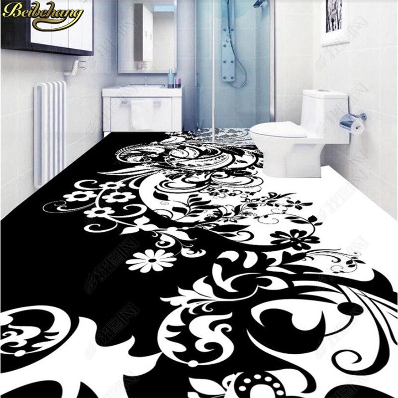 Beibehang Sob Encomenda Da Foto Papel De Parede Piso Pinturas Pastas Cai CBlack branco flores Banheiro Cozinha Sala parede rolo de papel