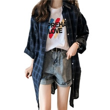 VogorSean Zomer Womens Blouses Shirt Plaid 2019 BF Lange Mouwen Plus size Lange sectie Vrouwen Plaids Shirts Rood/Blauw /geel/Wit