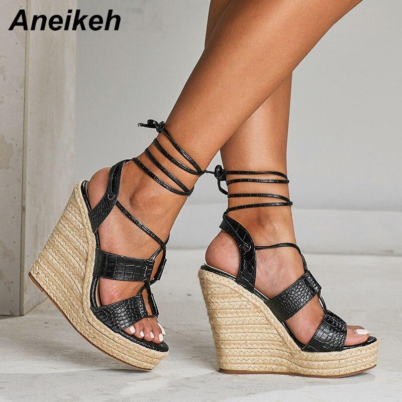 Aneikeh nuevo 2019 Roma PU sandalias mujeres extremadamente cuñas zapatos de tacón alto verano Zapatos del dedo del pie redondo Sexy plataforma sólida encaje negro 35-42