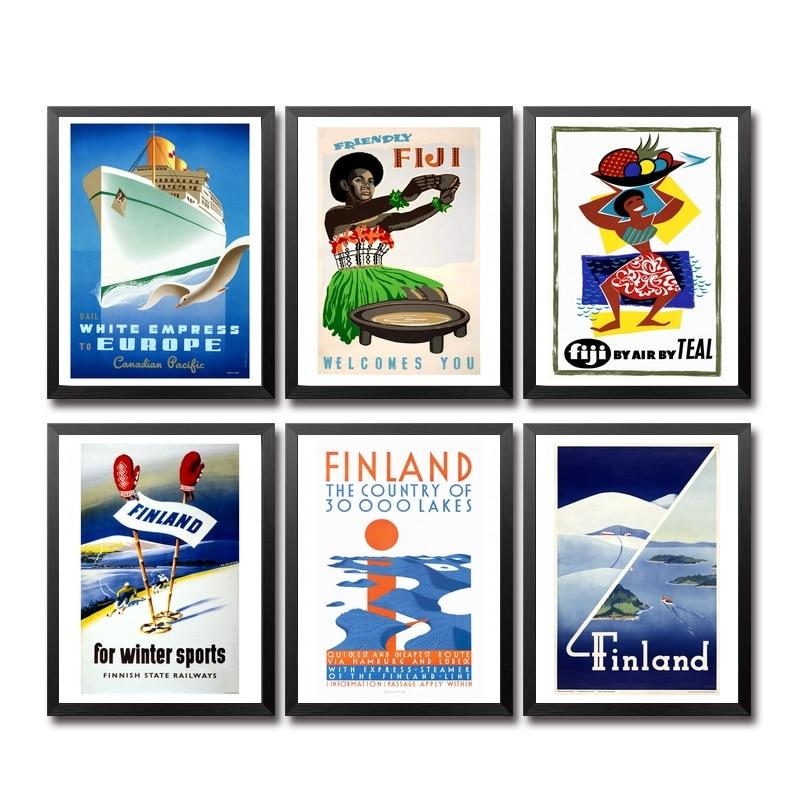 Póster de viaje Vintage de Europa, Fiyi, Finlandia