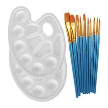 Watercolor Paintbrush Set 10pcs Paintbrush + 2Pcs Color Palette Pearlescent Blue Brush White Palette for Watercolor Oil Painting