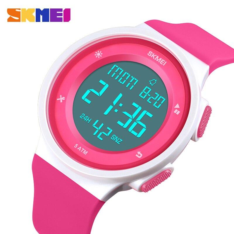 Relojes para mujer, reloj deportivo Digital LED impermeable para mujer, reloj de pulsera multifunción para niño y niña, reloj de pulsera para mujer SKMEI 2018