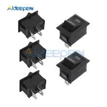 Lote de 10 unidades de KCD1-101 de 125V, 250V, 6A, 2 pines, interruptor de encendido/apagado automático redondo para bote o coche, botón pulsador negro, miniinterruptor