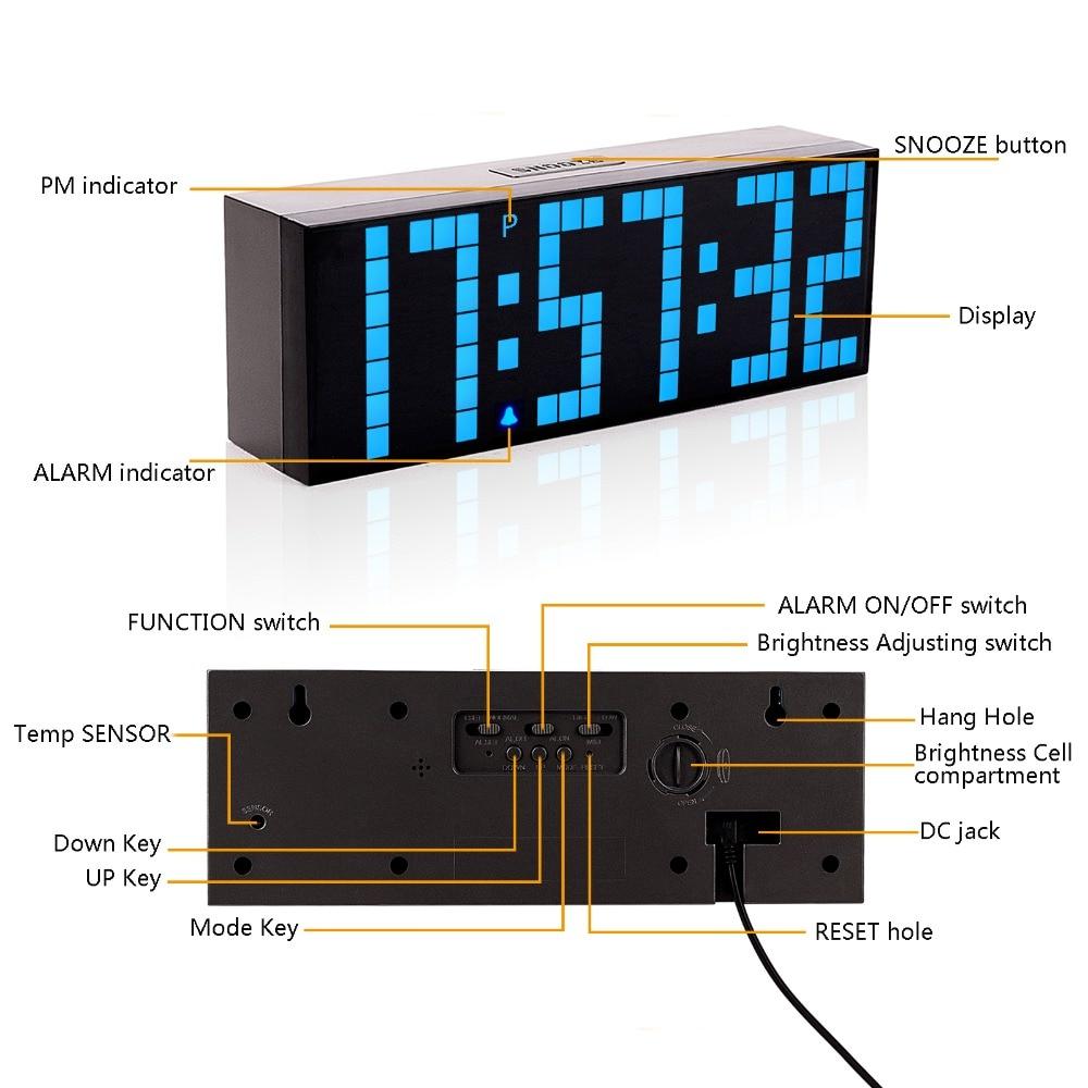 LED Big Digital Alarm Clock Bedroom Gym Office Snooze Desk Clock Full Range Brightness Dimmer Timer Calendar Temperature Display enlarge