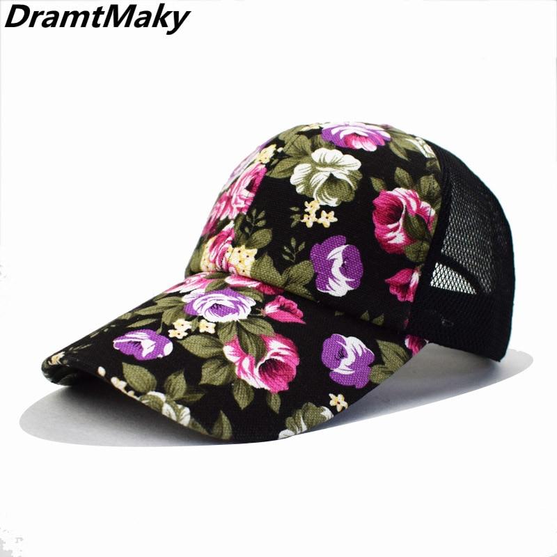 Moda Meash gorra de béisbol mujer Floral Snapback verano malla sombreros Casual ajustable gorras Drop Shipping aceptado flor China