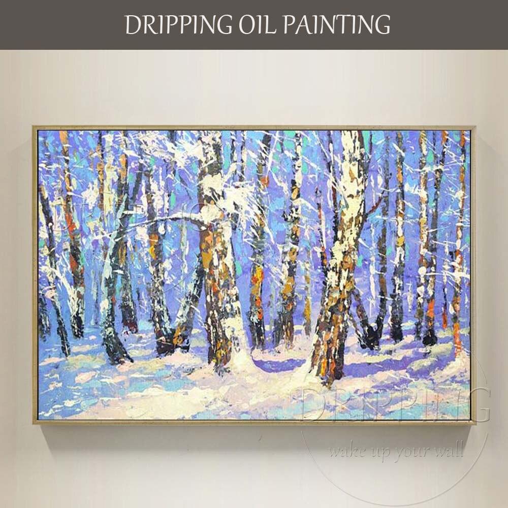 Equipo de pintor suministra directamente pintura al óleo de invierno pintada a mano de alta calidad pintura al óleo de paisaje sobre lienzo invierno pintura al óleo de bosque de abedules
