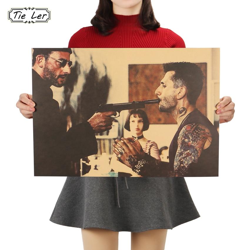 TIE LER Leon The Professional Vintage Movie Poster Kraft Paper Poster Wall Sticker Livingroom Bedroom Cafe Decor 51.5X36cm