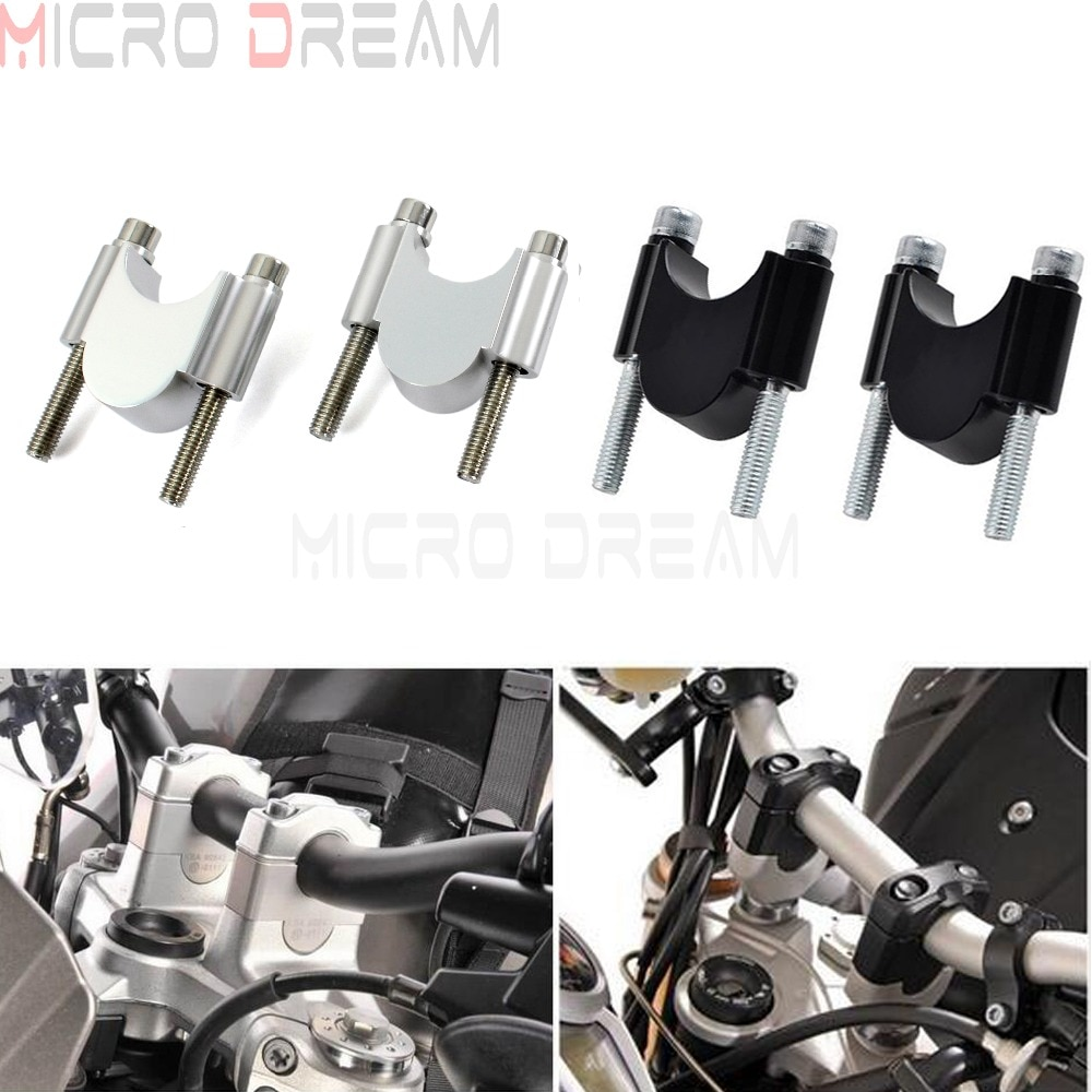 "CNC Motorcycle Handlebar Riser Kit 7/8"" or 1 1/8"" Universal Bar Clamps 28/22mm For BMW Suzuki Honda Yamaha ATV Scooter 30mm Rise"
