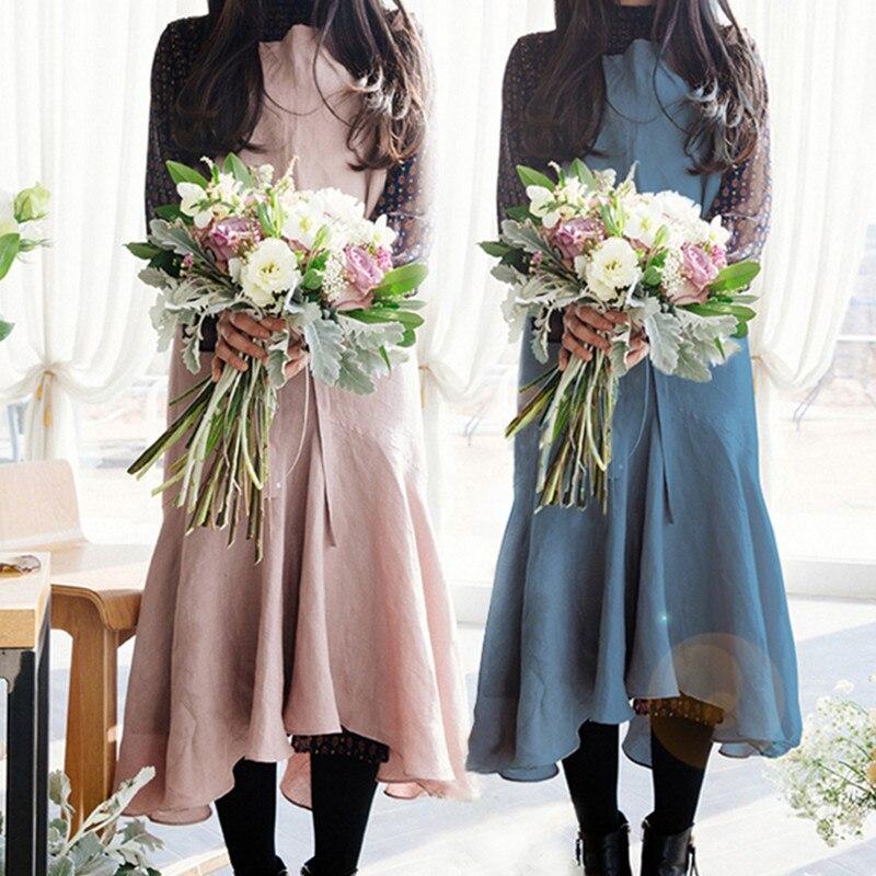 Tablier Long bleu rose gris en lin   Tablier en coton pour fleuriste artiste peintre, vêtement de travail artisanal, serveuse, Barista Baker, uniforme de pâtisserie et de traiteur D35