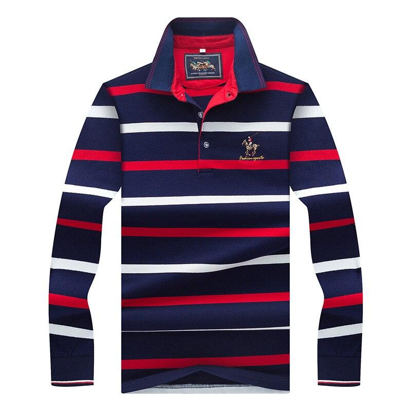 Beand Mens Polo Shirt Long Sleeve Autumn Fashion Striped Cotton Fit Slim Business Causal Lapel Polos Men Top Tees 3XL AY8805