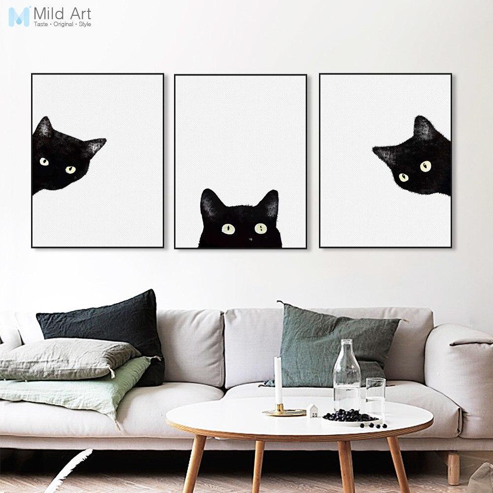 Acuarela negro blanco gato gatito cara carteles de animales e impresiones Pared de salón nórdico imágenes artísticas decoración del hogar lienzo pintura