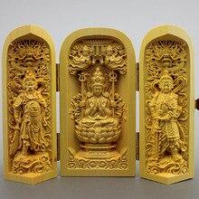 Houtsnijwerk boeddhabeelden van de West Saha drie saint Guanyin uit de openbare drie open doos houten ambachten Decoratie