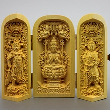 Sculptures en bois statues de bouddha   Sculptures de louest, Saha trois saint Guanyin hors la boîte publique trois ouverte, décoration artisanale en bois