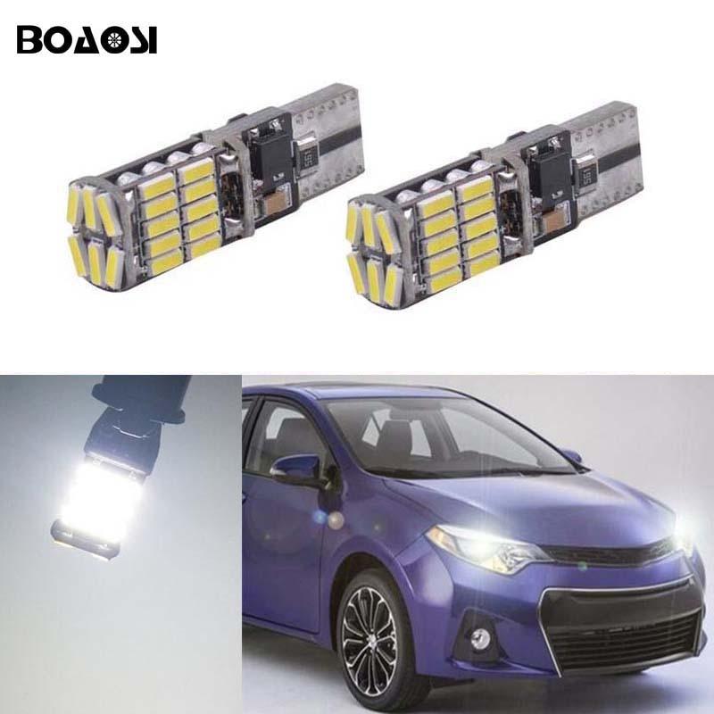 BOAOSI 2x автомобильный светильник T10 w5w для Toyota Corolla Avensis Yaris Rav4 Auris Hilux Prius Camry 40 Celica Выше Prado Verso
