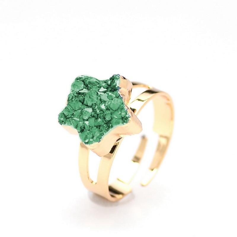 SEDmart Women Natural Stone Green Druzy Quartz Star Rings Gold Color Raw  Crystal Ring Women Jewelry