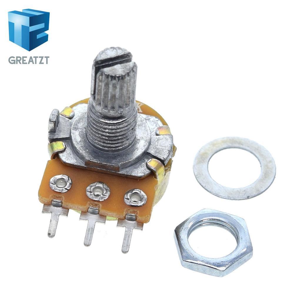 Potenciómetro de sellado estéreo/pa, 10 Uds., WH148 B1k B2k B5k B10k B20k B50k B100k B250k B500k B1M 15mm 3 pines con interruptor