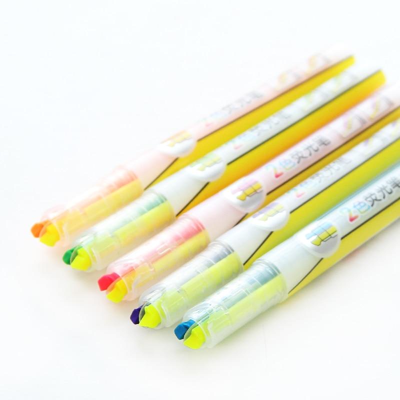 5 unids/lote dos colores en 1 cuerpo resaltador marcadores para la Oficina y la escuela para Copia en PAPEL estacionario material escolar F375