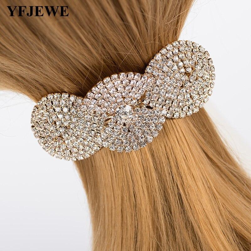YFJEWE Handmade Gold Bridal Hair Jewelry Rhinestone Pearl Leaf Flower Wedding Hair Accessories Women Hair wear H060