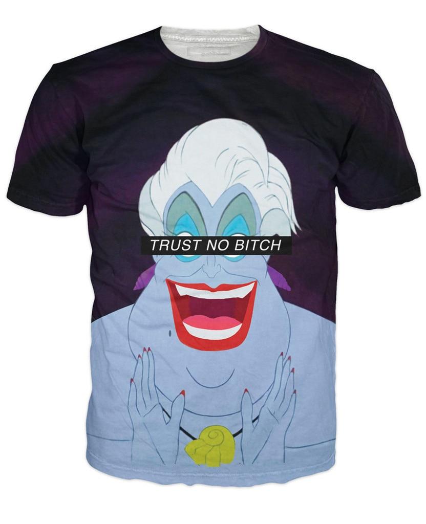 3D Women Men Summer Tees Ursula T-Shirt Cartoon The Little Mermaid T Shirts Short Sleeve Fashion  Tee Tops