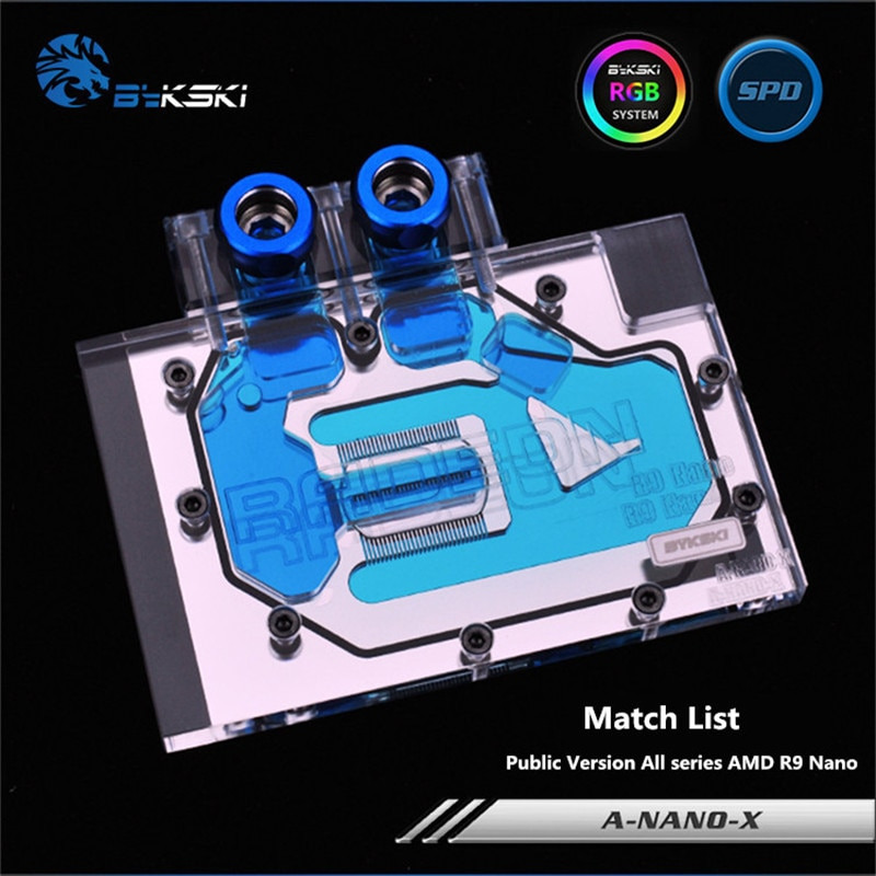 Bloque de agua GPU de cobertura completa Bykski para versión pública todas las series AMD R9 tarjeta nanográfica a-nano-x
