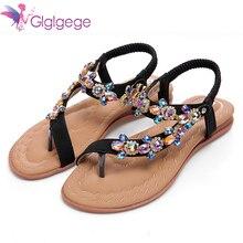 Glglgege 2018 femmes sandales chaussures étranges strass chaînes string Spot chaussures pour femmes diamant plat sandales grande taille Feminino