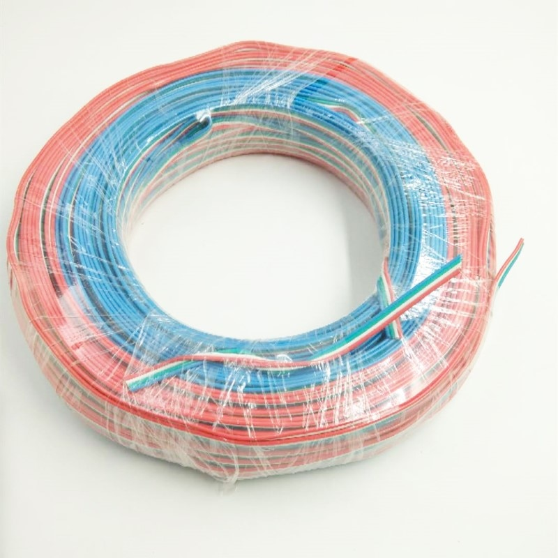 18AWG 4 pin flach Band Kabel mit geformten stecker, 100 m/rolle, rot weiß blau grün flache kabel 4 core, hohe qualität