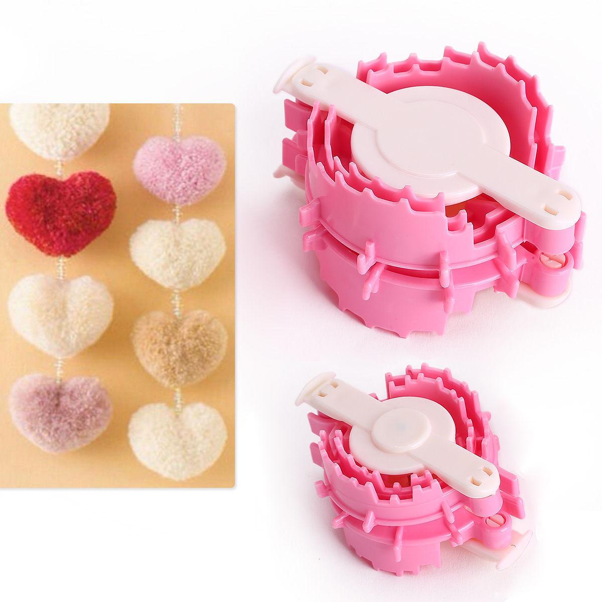 2 piezas con forma de corazón herramienta para hacer pompones bola de pelusa Weaver tejido de bebé herramienta pequeña + grande Z07 Drop Shipping
