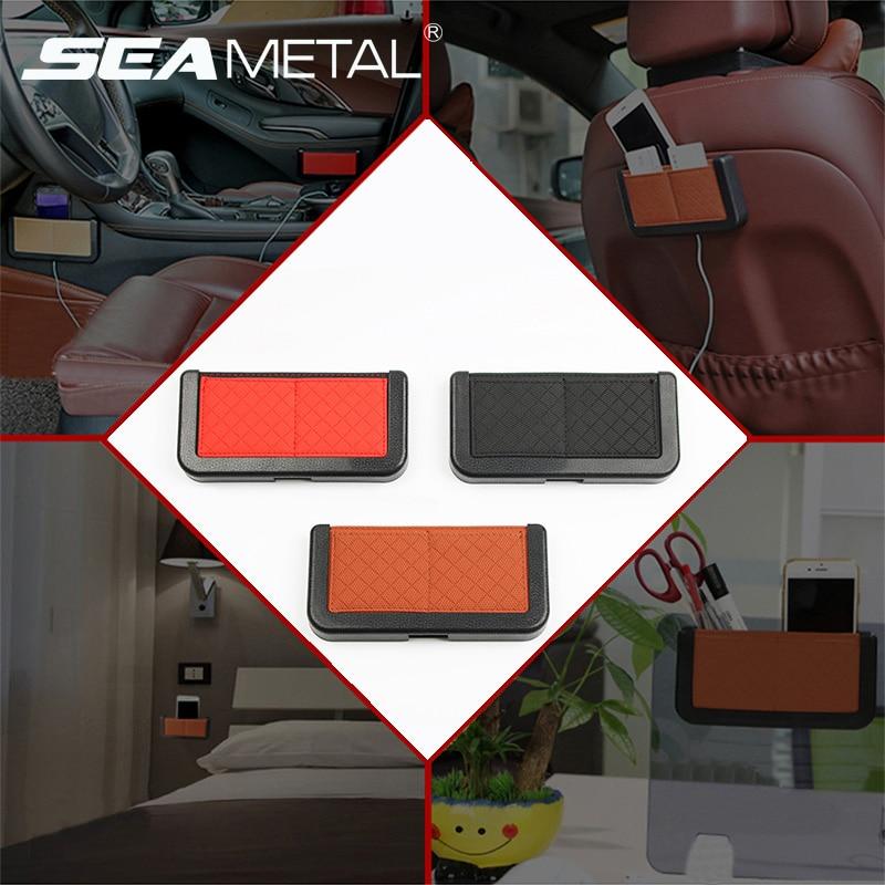 Caja de respaldo de asiento de coche, soporte de tarjeta de teléfono móvil de coche, pegatina de automóvil en bolsa de almacenamiento de coches, bolsillo Universal en accesorios de coche